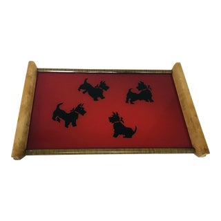 Vintage Mid-Century Modern Black & Red Scottish Terrier Glass & Wood Tray For Sale
