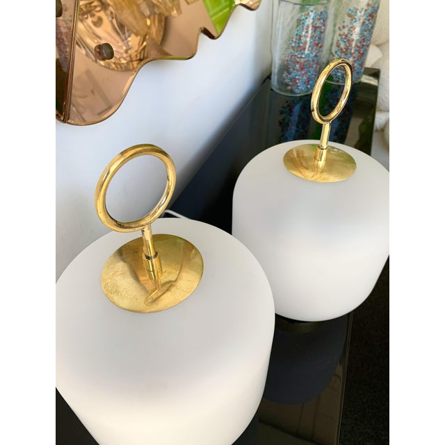 Transparent Contemporary Murano Glass Brass Ring Medium Can Lamps - a Pair For Sale - Image 8 of 13