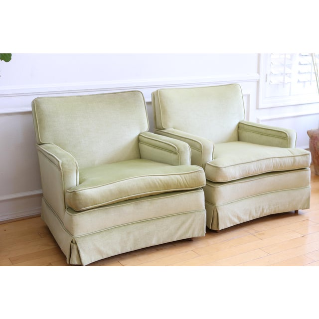 Mid-Century Modern Green Velvet Club Chairs - A Pair - Image 4 of 9