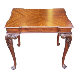 Ethan Allen Newport Collection Belmont Mahogany Carved End Table #34-8413 For Sale