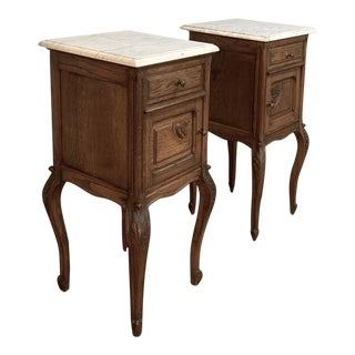 Pair Antique French Marble Top Nightstands For Sale
