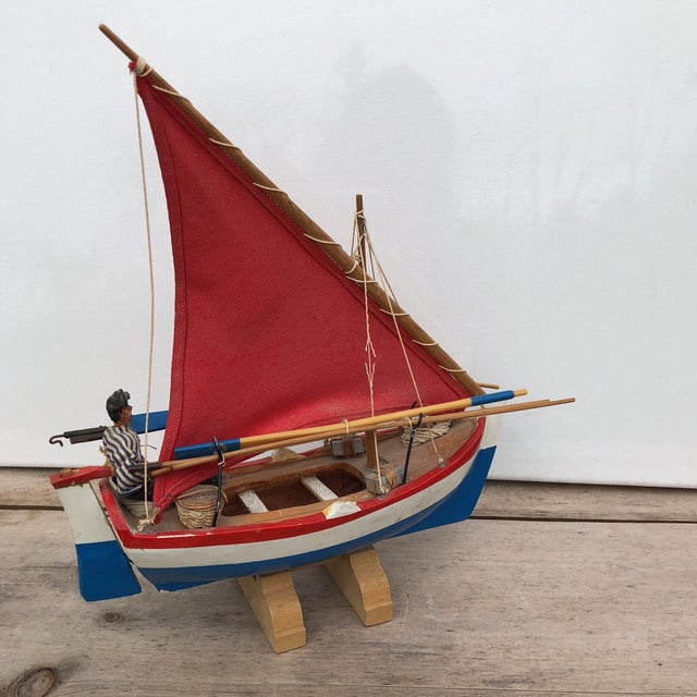 Vintage Model Pond Sail Boat & Handmade Sailor Doll