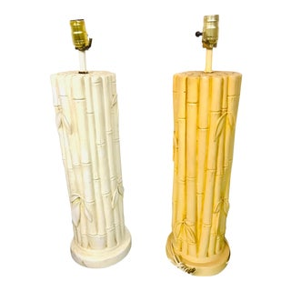 1970s Mid-Century Ceramic Faux Bamboo Lamps - a Pair For Sale