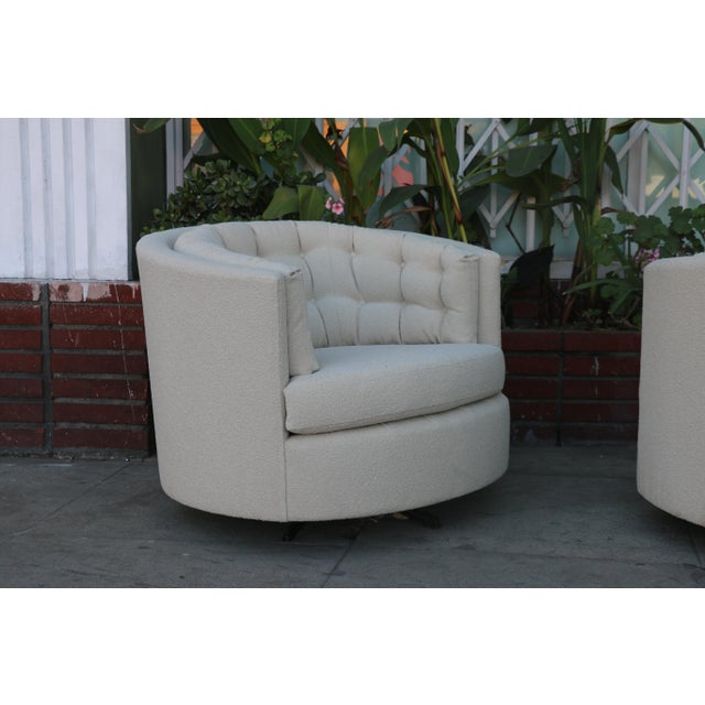 Milo Baughman Style Swivel Chairs - A Pair For Sale - Image 5 of 10