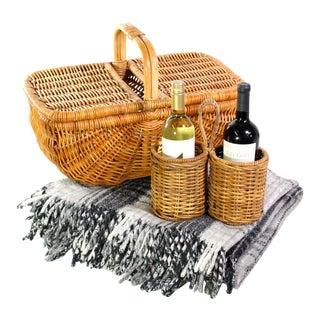 1960's Wicker Woven Picnic Basket, Double Wine Holder, Grey Plaid Wool-Blend Blanket - a Set For Sale