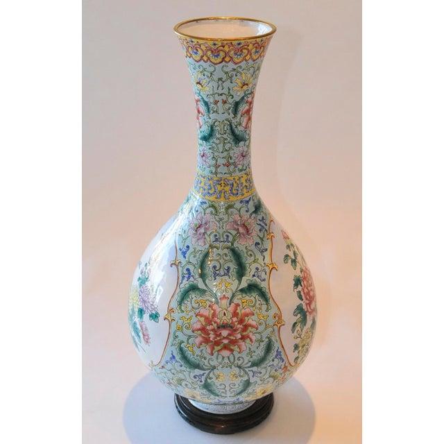 Vintage Chinese Enamel Vase, Flora & Fauna Details For Sale - Image 5 of 11