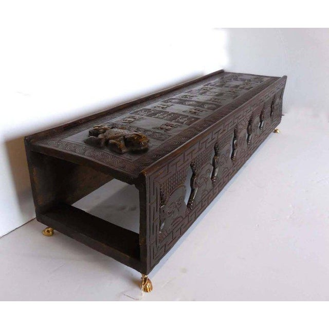African Hand-Carved African Bamileke Child's Bed, Bench, or Coffee Table For Sale - Image 3 of 10
