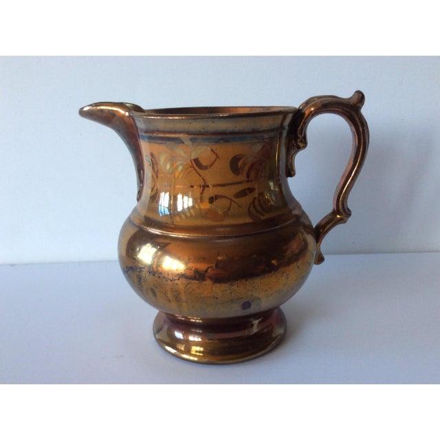 Ceramic English Victorian Copper Lustreware Pitcher Jug For Sale - Image 7 of 8