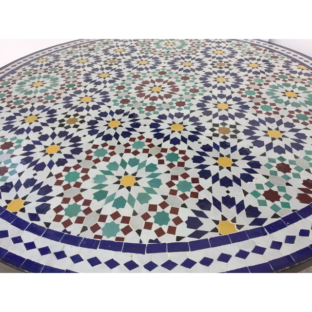 Metal Moroccan Round Mosaic Outdoor Tile Table in Fez Moorish Design For Sale - Image 7 of 10