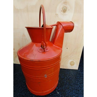 Vintage Red Steel 5 Gallon Oil Can With Spout and Handle Preview