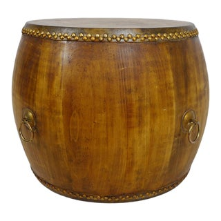 Natural Wood Drum Coffee Table For Sale