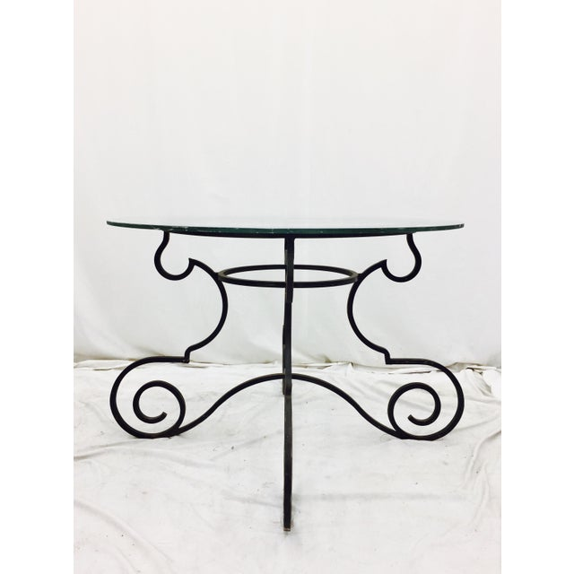 Contemporary Vintage Wrought Iron & Glass Top Table For Sale - Image 3 of 6