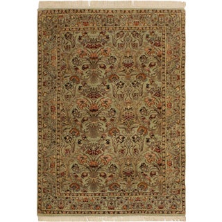Pak-Persian Kathi Lt. Green/Rust Wool Rug - 4'0 X 6'1 For Sale