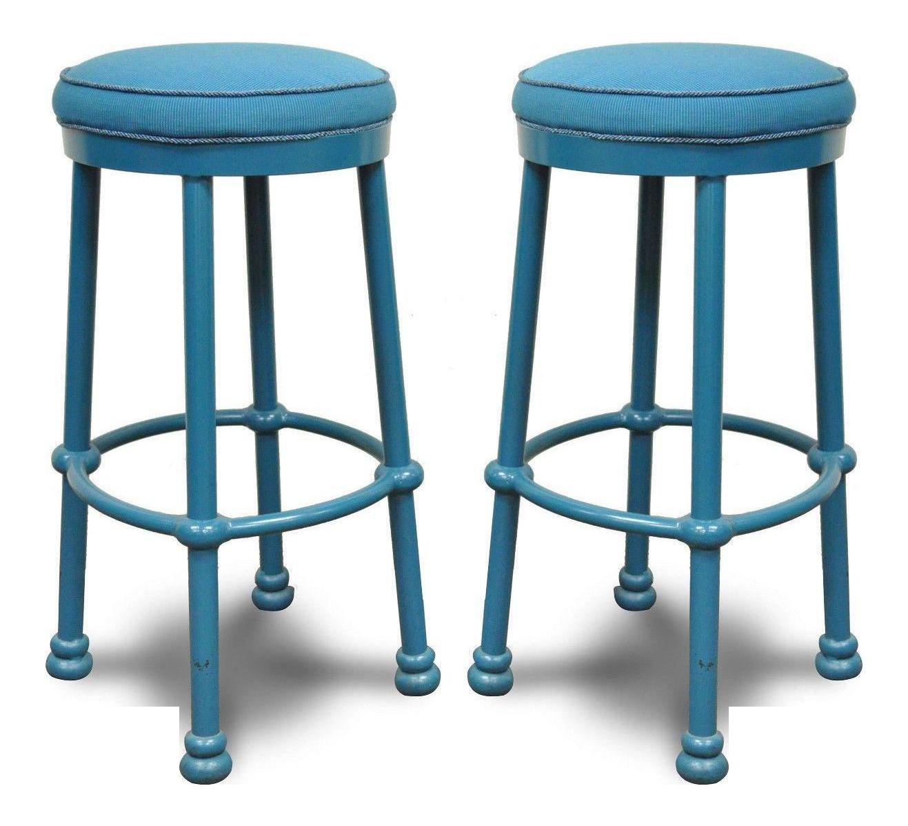 Pair Of Pompeii 30 Counter Barstools Bar Stools Blue Cast Aluminum