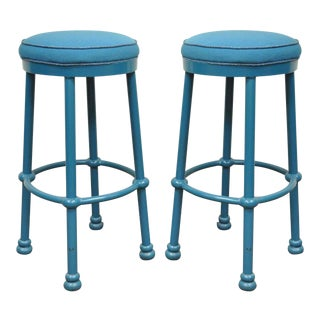 "Pair of Pompeii 30"" Counter Barstools Bar Stools Blue Cast Aluminum Modern Style"