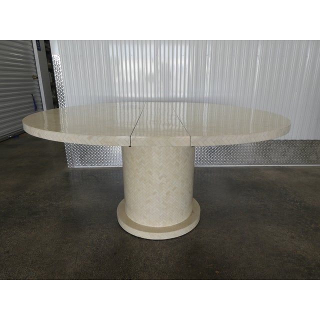 1970s Enrique Garcel Tessellated Bone Dining Table W 2 Leaves For Sale - Image 5 of 13