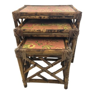 1960s Boho Chic Bamboo Nesting Tables - 3 Piece Set For Sale