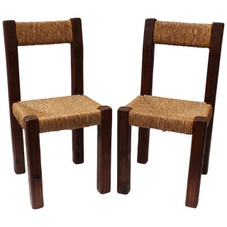 Pair of French Charlotte Perriand Style Primitive Chairs For Sale