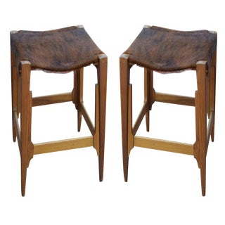 Pair of Architectural Frame Cowhide and Wood Barstools