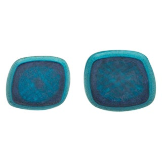 Pair of Mid-Century Modern Francis Joseph Von Tury Cerulean Blue Ceramic Trays For Sale