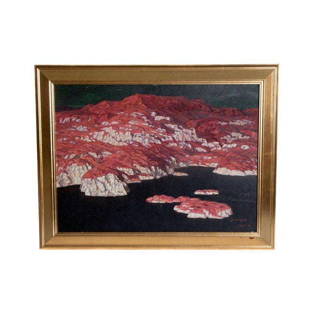 Chinese Abstract Oil on Canvas of Mountains and Seascape, Indistinctly Signed For Sale - Image 13 of 13