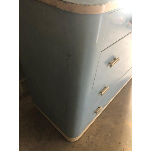 Metal Dresser Lowboy by Norman Bel Geddes for Simmons Circa 1930s, Baby Blue and White For Sale - Image 7 of 12
