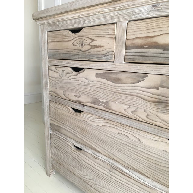 Custom White Washed Pine 10-Drawer Dresser - Image 9 of 11