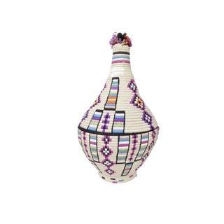 'Purple People Eater' Ivory Moroccan Woven Bread Basket For Sale