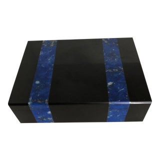 1960s Vintage Italian Black Marble and Lapis Lazuli Box For Sale