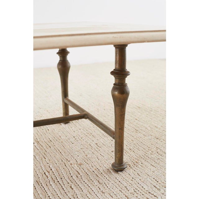 Italian Hollywood Regency Marble-Top Brass Cocktail Table For Sale - Image 10 of 13