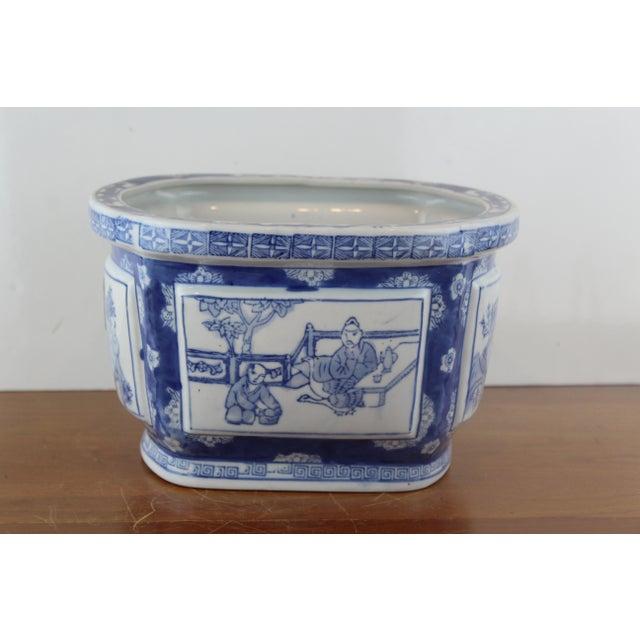 Ceramic Vintage Mid Century Chinese Garden Scene Planter For Sale - Image 7 of 7