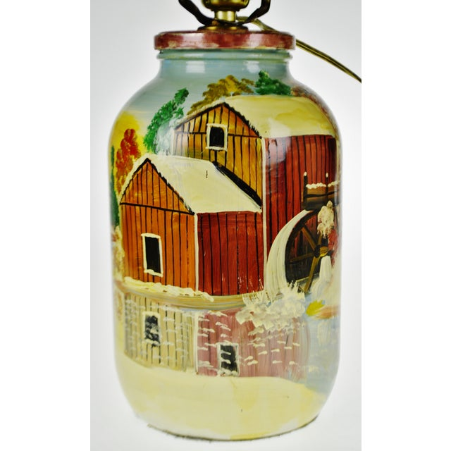 Vintage Folk Art Hand Painted Glass Jar Lamp - Artist Signed For Sale In Philadelphia - Image 6 of 13