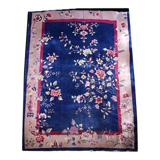 1920s Blue Ground Art Deco Chinese Rug For Sale