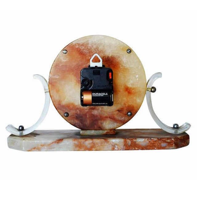 Mid-Century Acrylic and Marble Modernist Mantel Clock For Sale - Image 5 of 5