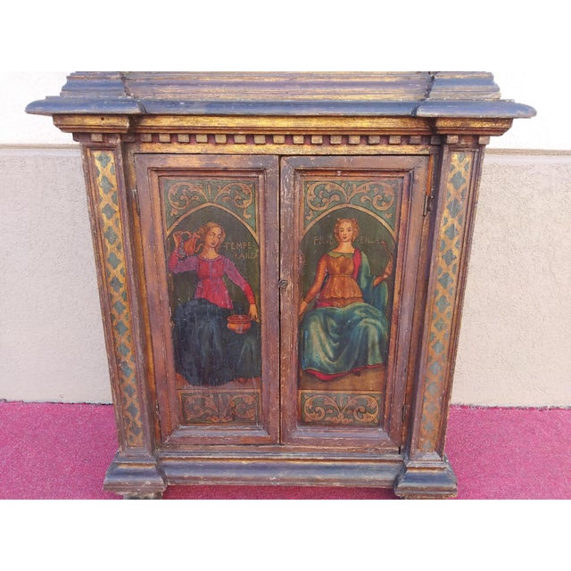 19th Century Italian Hand Painted Polychromed Giltwood Claw Footed 2 Piece Cupboard For Sale - Image 4 of 13