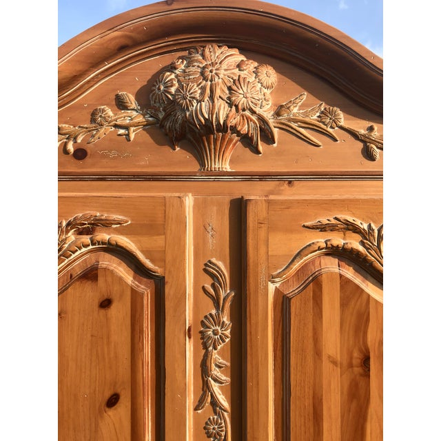French Ethan Allen Legacy Carved Country French Armoire For Sale - Image 3 of 11