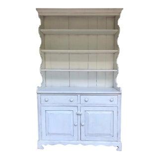 Vintage Farmhouse Style White Pine Hutch/Cupboard