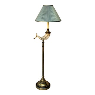 1975 Chapman Brass Ram's Horn Floor Lamp With Shade For Sale