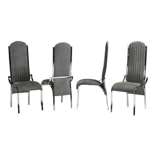 Italian Vintage Four Curved High Back Chrome Chairs in Blue Gray Stitch Fabric For Sale