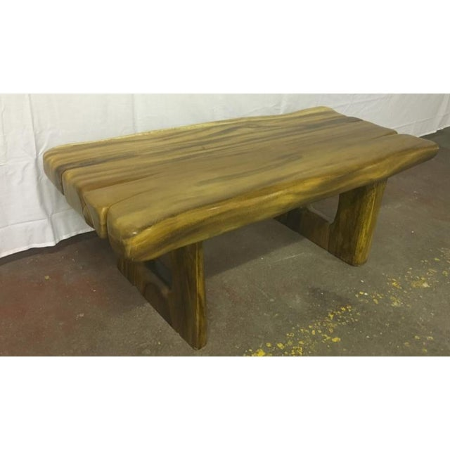 Brutalist Sturdy Solid Wood Coffee Table For Sale - Image 3 of 4