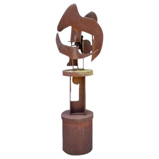 1970s Corten Steel Rotating Abstract Brutalist Sculpture by Patsy Eldridge For Sale