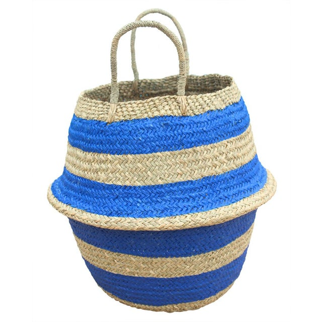 """Brunna """"Stripes Tribes"""" Straw Basket Bag, in Blue For Sale - Image 4 of 4"""