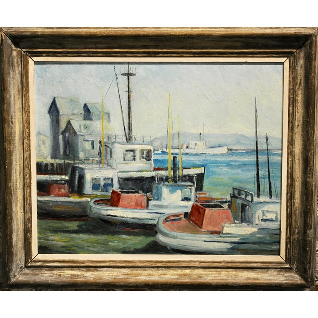 """John Earle Coolidge - Boats at the LA Harbor 1935 - Oil painting oil painting on board -Signed frame size 21 x 25"""" board..."""