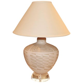 Richard Lindley Lucite and Acoma Pottery Lamp For Sale