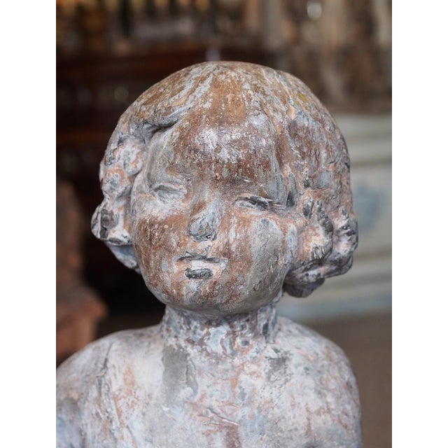 Mid 19th Century 19th Century French Lead Statue of a Young Girl For Sale - Image 5 of 7