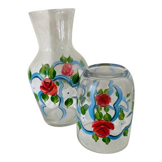 Vintage Hand Painted Water Carafe and Glass For Sale