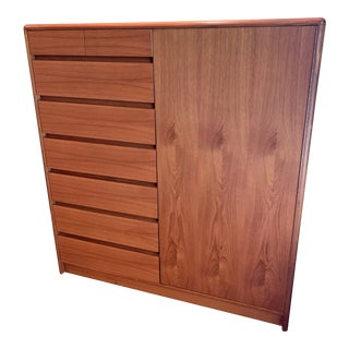 Danish Teak Armoire Chest For Sale