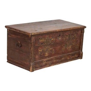 Late 19th Century Antique Original Painted and Hand Carved Trunk, GreatCoffee Table For Sale