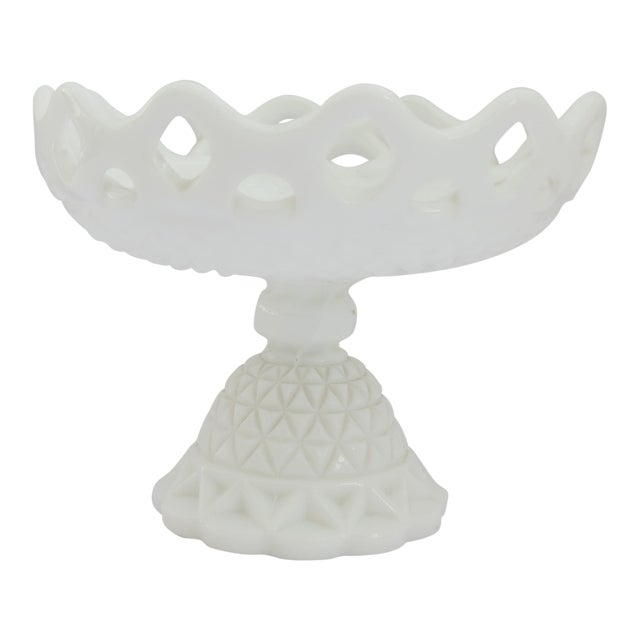 Milk Glass Compote Dish For Sale