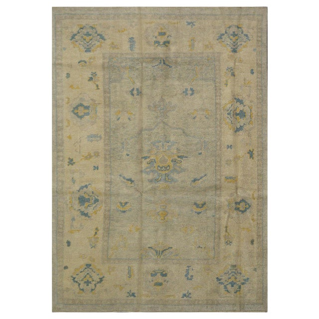 New Turkish Oushak Rug - 4'10'' x 7'2'' For Sale